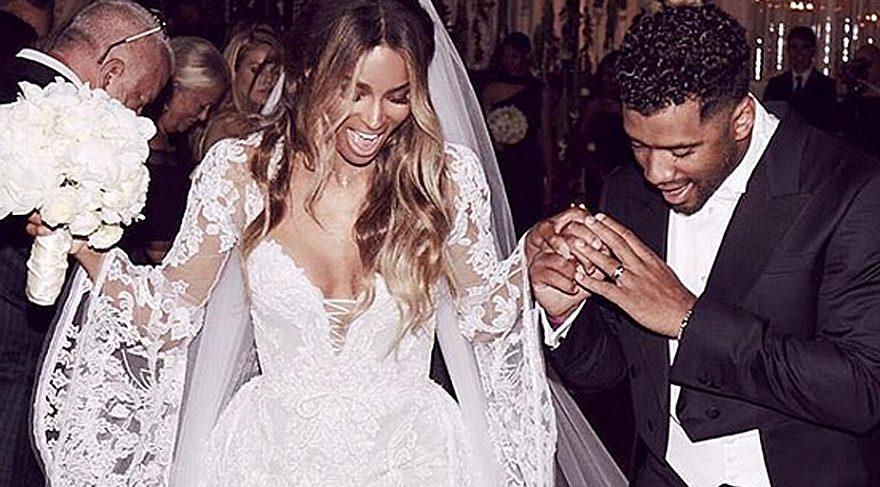 Ciara, sevgilisi Russell Wilson ile evlendi