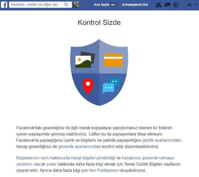 facebook'tan bildirim