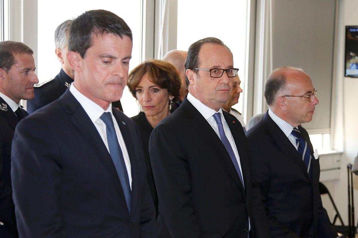 Başbakan Valls ve Cumhurbaşkanı Hollande bugün saldırının yaşandığı Nice kentine gitti. (Foto: Reuters)