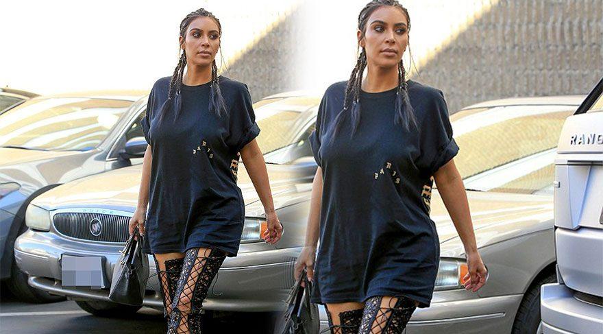 Kim Kardashian dantel çizmeleriyle kendine hayran bıraktı