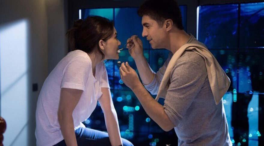 Özcan Deniz ve Nurgül Yeşilçay'ın film çekimlerinden aşk dolu kareler