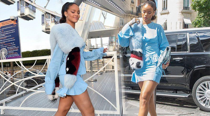 Rihanna'nın Paris'te kürklü gezisi olay oldu