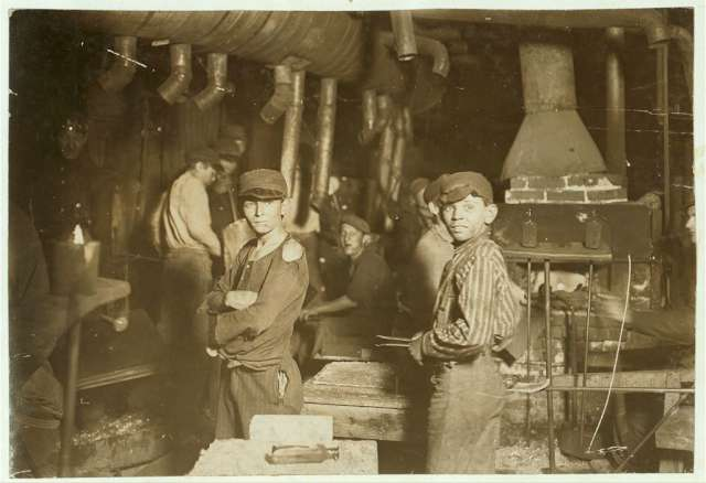 a-glassworks-at-midnight-taken-in-indiana-in-august-1908