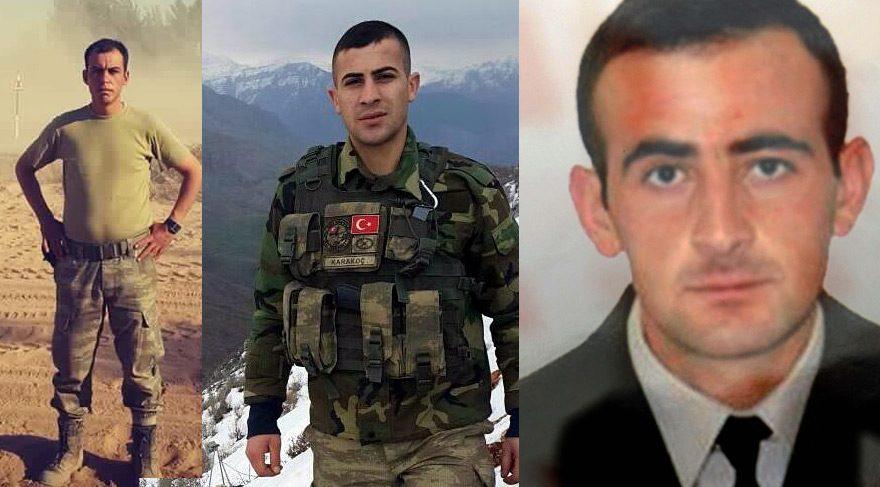 Uzman onbaşı Burak Türkoğlu, (solda) Uzman Er Burak Karakoç (ortada) ve Uzman Çavuş Halil Gedik (sağda) toprağa 10 Eylül'de şehit düşmüştü.