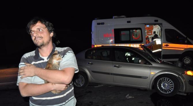 Kazada yaralandı, 'Ponçik'i kucağından bırakmadı