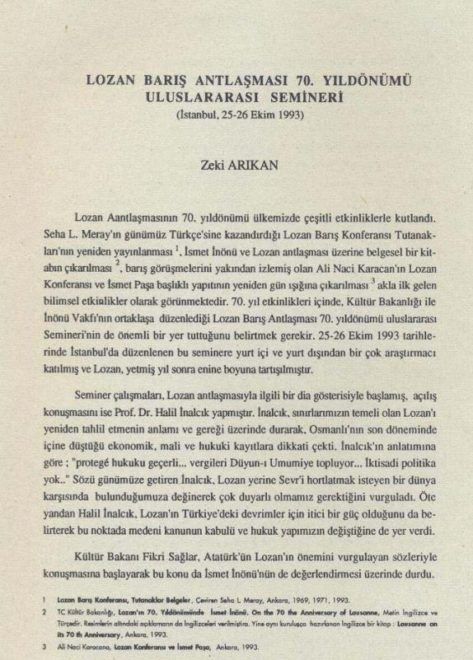 lozan-semineri  Hocaların hocası İnalcık AKP'yi defalarca uyarmıştı; Lozan'ı deldirtmeyin! lozan semineri