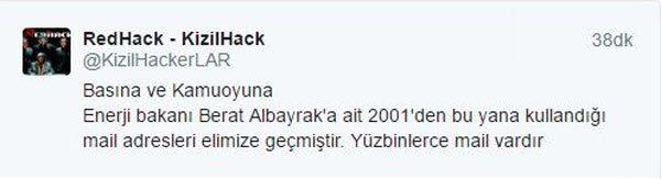RedHack zegt dat ze alle mails van Albayrak hebben, startend vanaf 2001