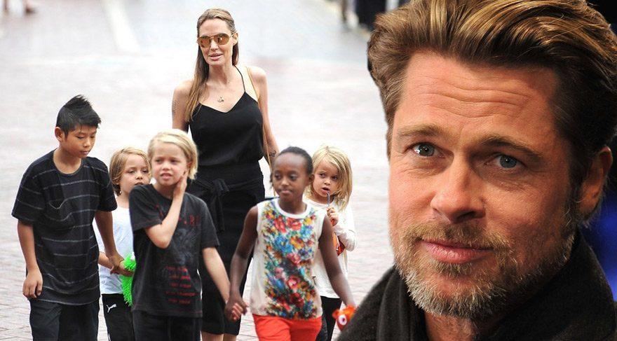 Çocuklarını karşısında gören Brad Pitt duygusal anlar yaşadı