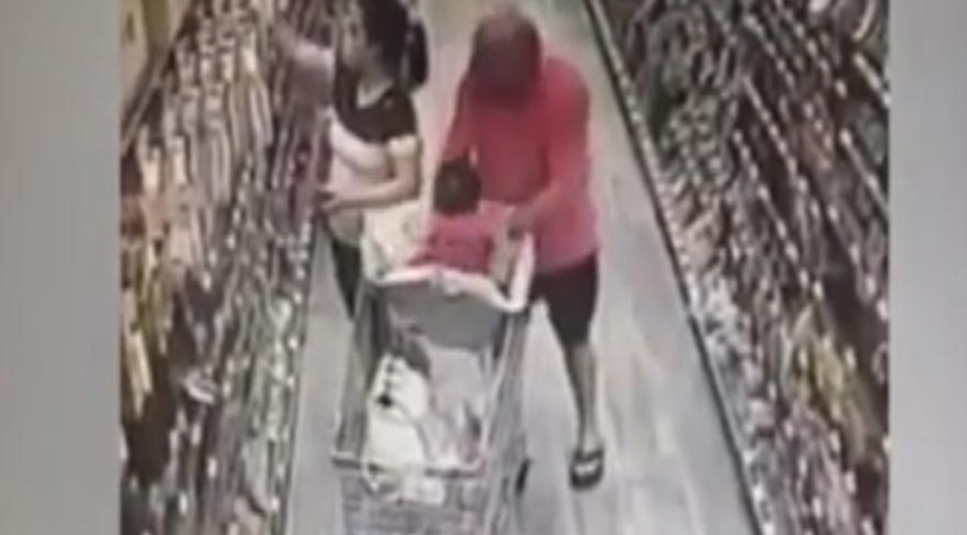 Markette bebek kaçırma girişimi kameralara böyle yansıdı