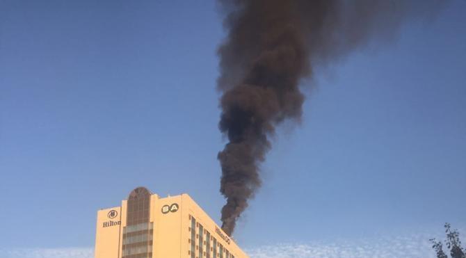 Ankara Hilton'un çatısında korkutan yangın
