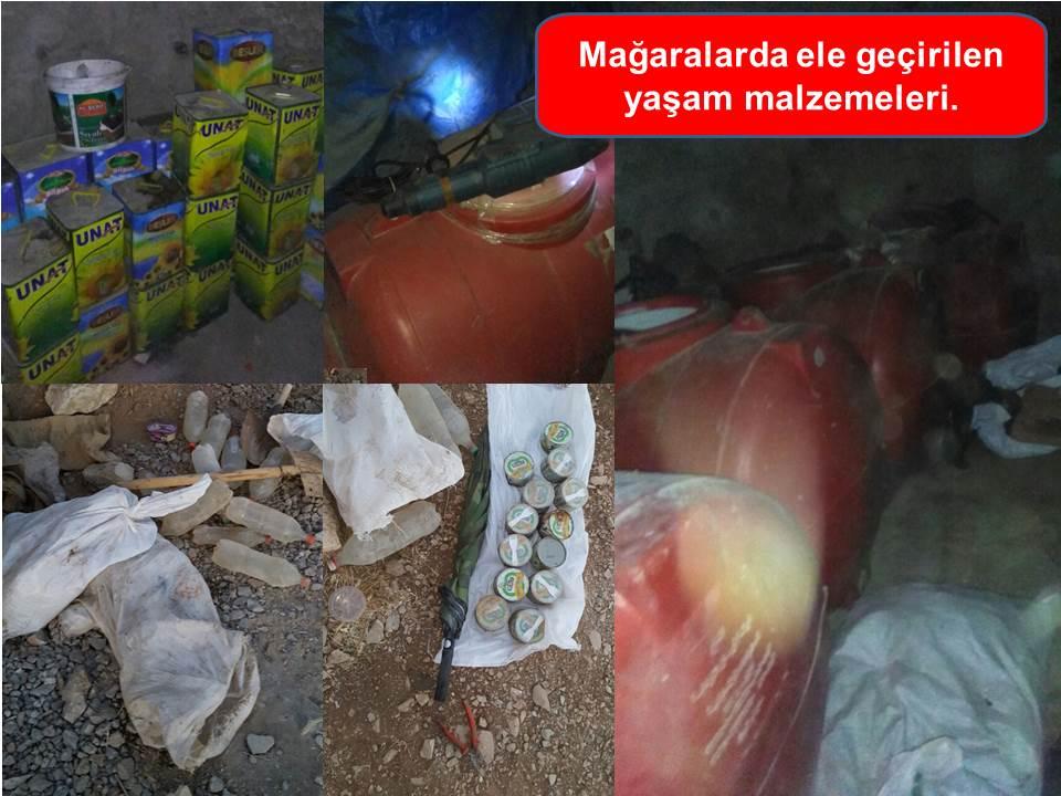 SIRNAK'TAKI DUGUN DAGI BOLGESİNDE GERCEKLESTIRILEN OPERASYONDA 2 PKK'LI ETKISIZ HALE GETIRILDI, 1 PKK'LININ ISE YARALI OLARAK ELE GECIRILDI. 4 MAGARA VE 2 TUNEL KULLANILAMAZ HALE GETIRILIRKEN PKK YA AIT CIK SAYIDA SILAH VE MUHIMMAT ELE GECIRILDI. FOTOGRAF: (DHA)