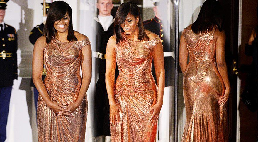 Michelle Obama şıklığıyla dikkatleri üzerine çekti