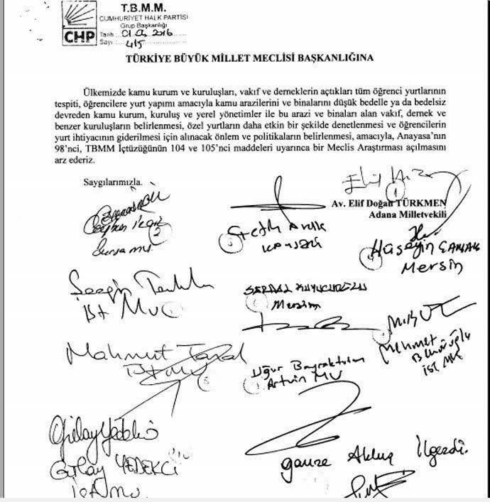 CHP aylar önce söz konusu yurtlar ile ilgili komisyon önergesi vermiş.