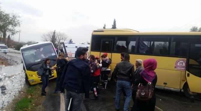 Aydın'da iki öğrenci servisi çarpıştı: 8 yaralı