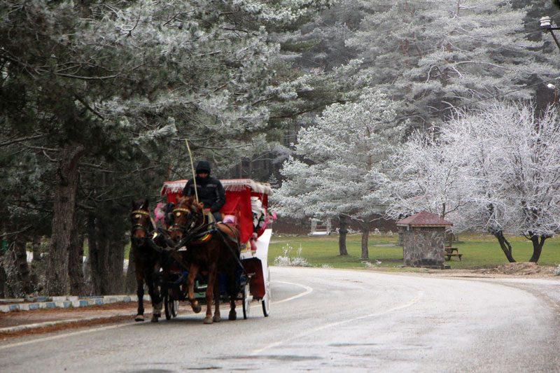FOTO:DHA - Kar yağışı sonrası Abant'ta kartpostallık görüntüler ortaya çıktı.