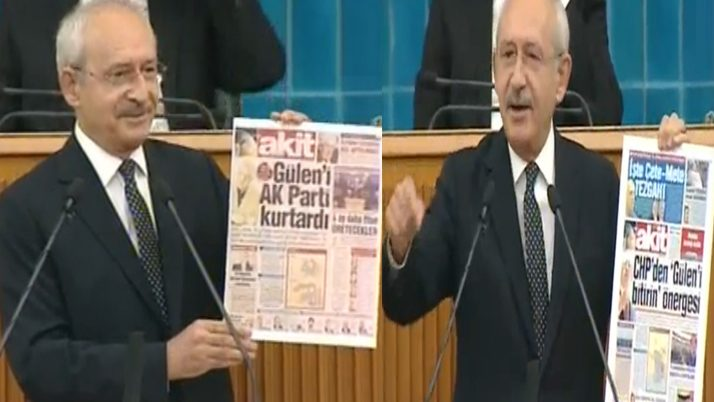 KIlıçdaroğlu, FETÖ ile ilgili tartışmalar ise yandaş bir yayın organının eski nüshalarını göstererek yanıt verdi. CHP lideri
