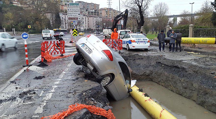 İSKİ çukuruna düştü, doğalgaz ana borusuna çarptı