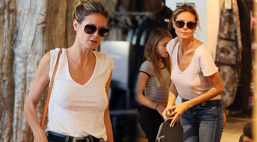 Heidi Klum, sütyensiz alışverişe çıktı