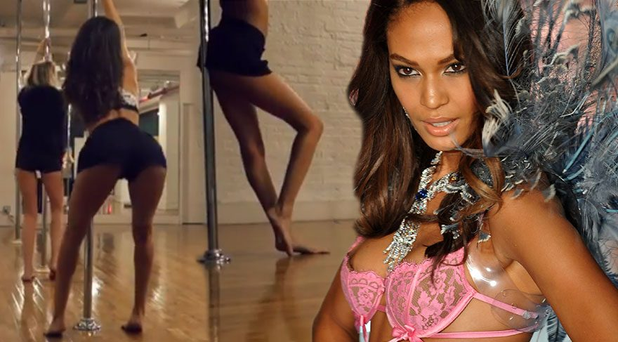 Victoria's Secret meleği Joan Smalls'tan direk dans şovu