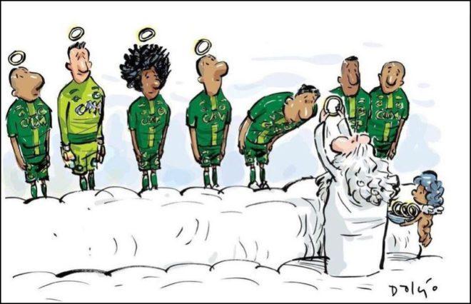 Chapecoense'nin Facebook sayfasından bu dokunaklı karikatür paylaşıldı.