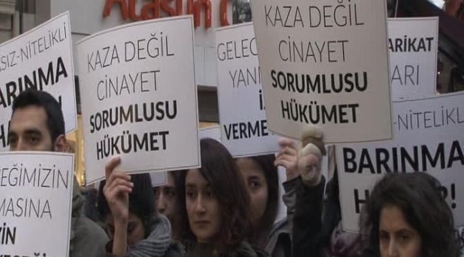 İstanbul'da adana'daki yurt faciası için eylemler