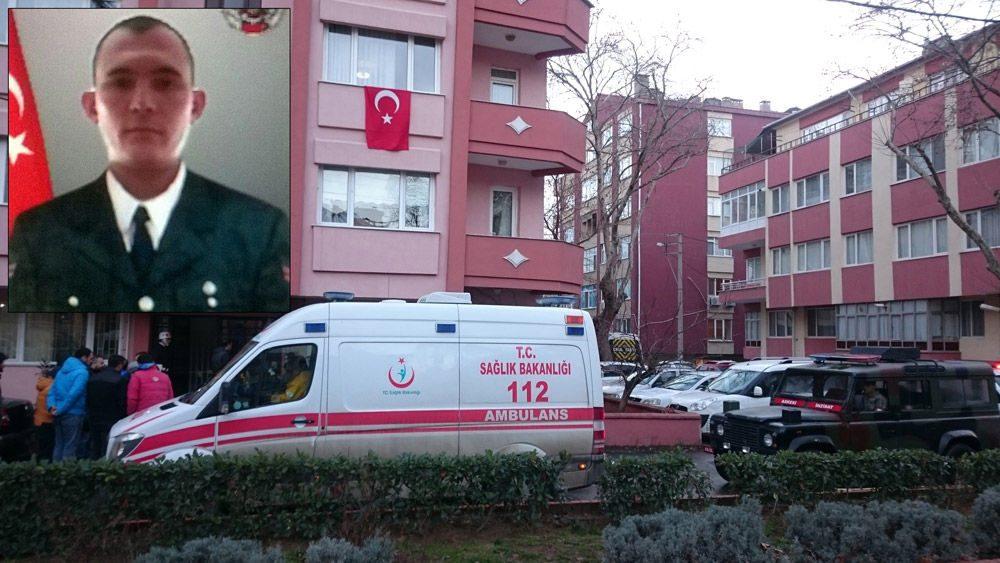 Şehit Acar'ın evine Türk bayrakları asıldı.