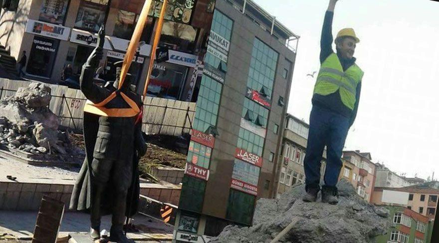 Resmen dalga geçtiler! Atatürk heykelini söküp zafer pozu verdiler