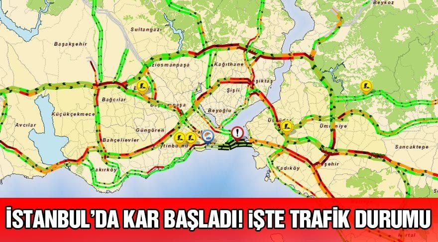 İstanbul trafik durumu nedir? Kar trafiği nasıl etkiledi?