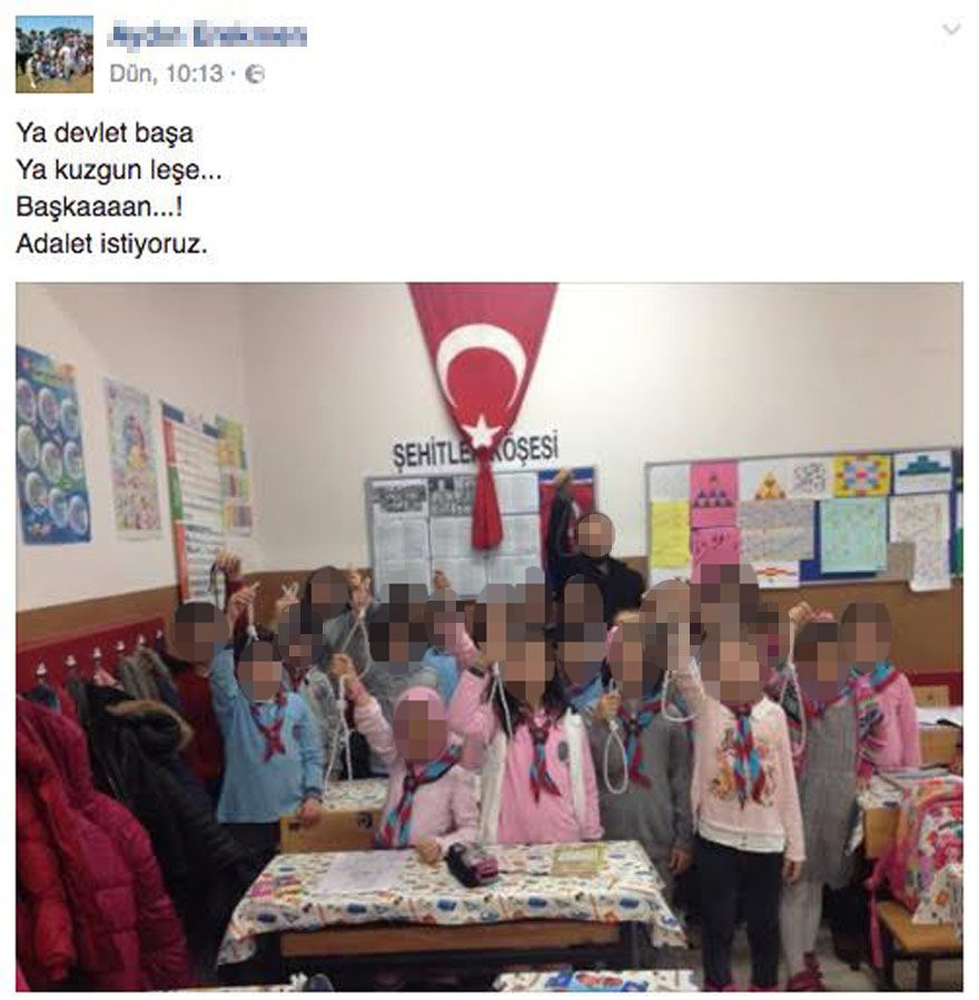 Öğretmen A. E. idam ipli fotoğrafı Facebook'ta paylaştı