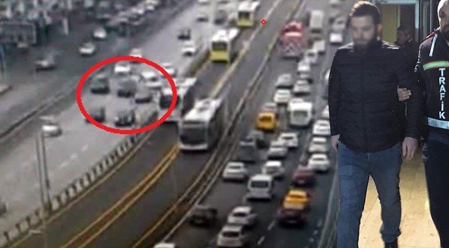 E-5'te makas atarak zincirleme kazaya yol açan sürücüye gözaltı!