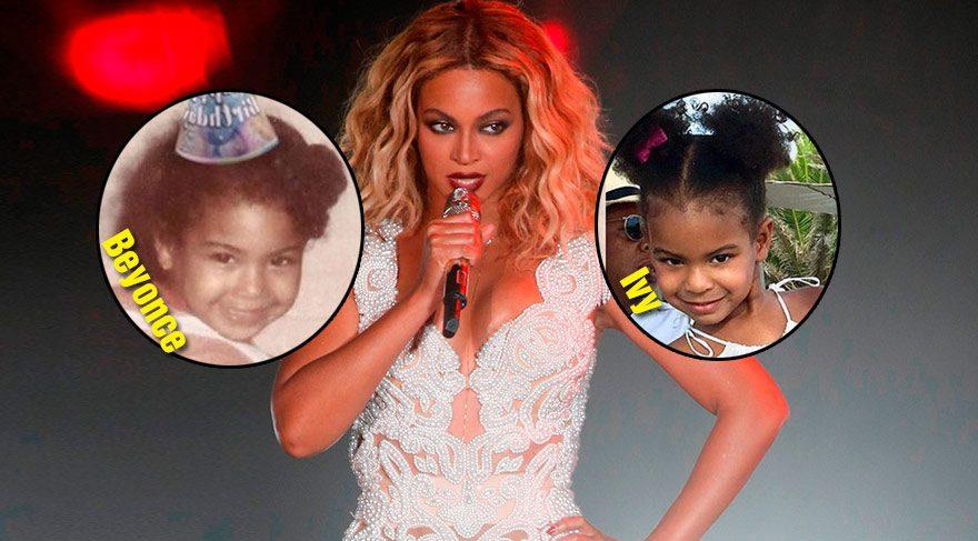 Beyonce'un küçüklüğüyle kızı Ivy'nin tıpa tıp benzerliği!