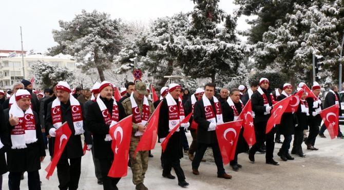 Burdur'da Sarıkamış şehitleri için yürüyüş