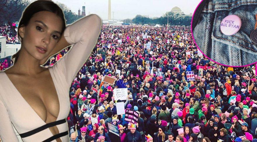 Ünlü kadınlar Donald Trump'a karşı yapılan eylemlere destek verdi