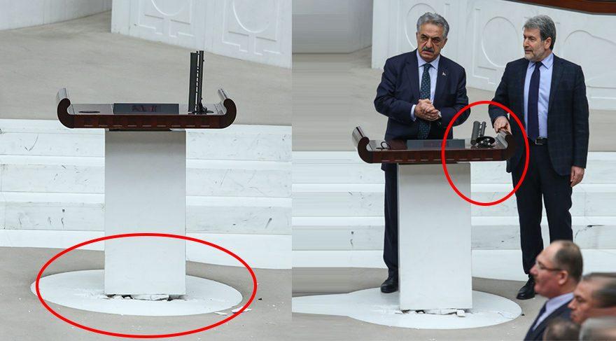 Meclis teki kavgada mikrofon detayı