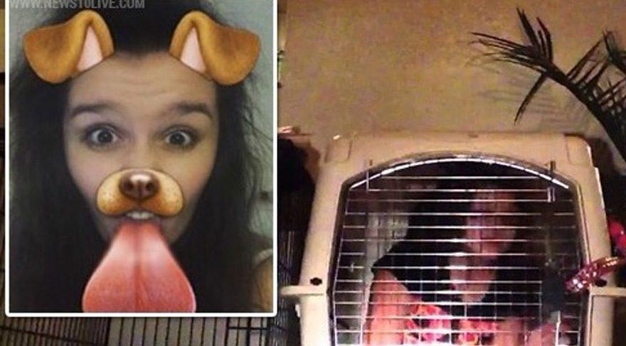 Snapchat efektiyle köpek olan kızı babası; köpek kafesine kapattı ve köpek mamasıyla besledi
