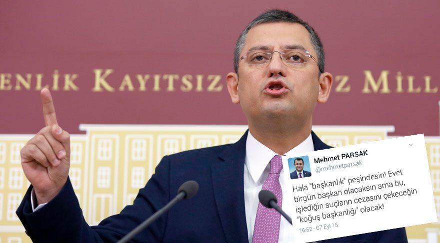 MHP'li Parsak'ın tweetini paylaşan CHP'li Özgür Özel, Twitter'da gündem oluşturdu