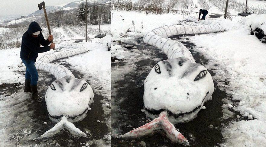 Bu da oldu... 30 metrelik kardan yılan