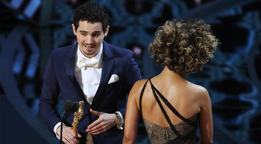 Damien Chazelle ödülü kabul ederken...