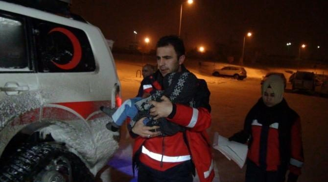 Minik Barancan için 6 saat karla mücadele