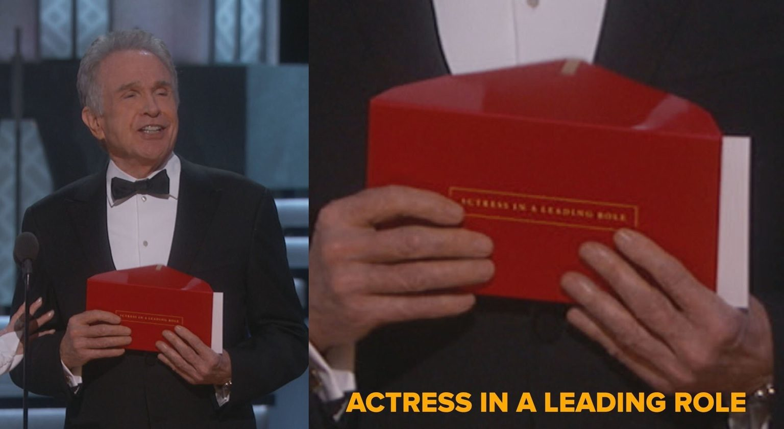 """Ödülün yanlış açıklanmasına neden olan zarfın üstünde """"En iyi Kadın Oyuncu"""" yazıyor."""