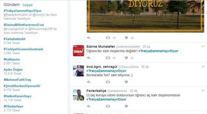 Trakya Üniversitesi'nin yemek zammı 'trend topic' oldu