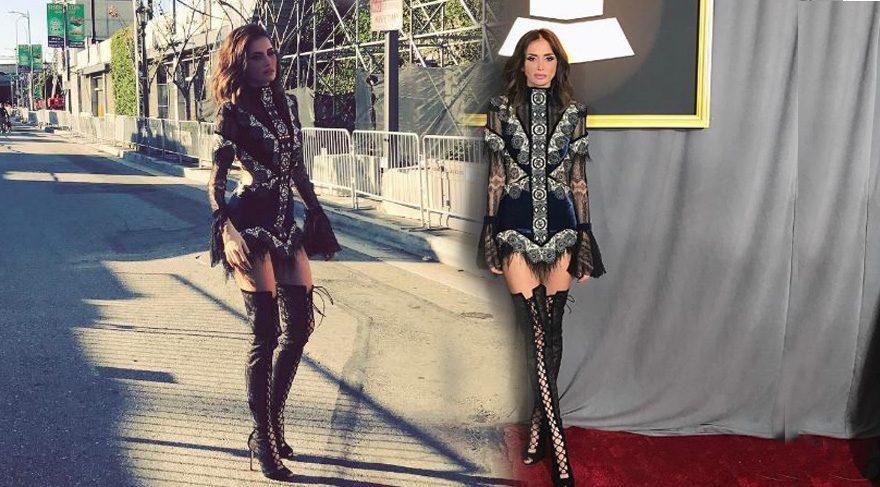 Emina Sandal Grammy Ödülleri'nde tüm bakışları üzerine çekti!
