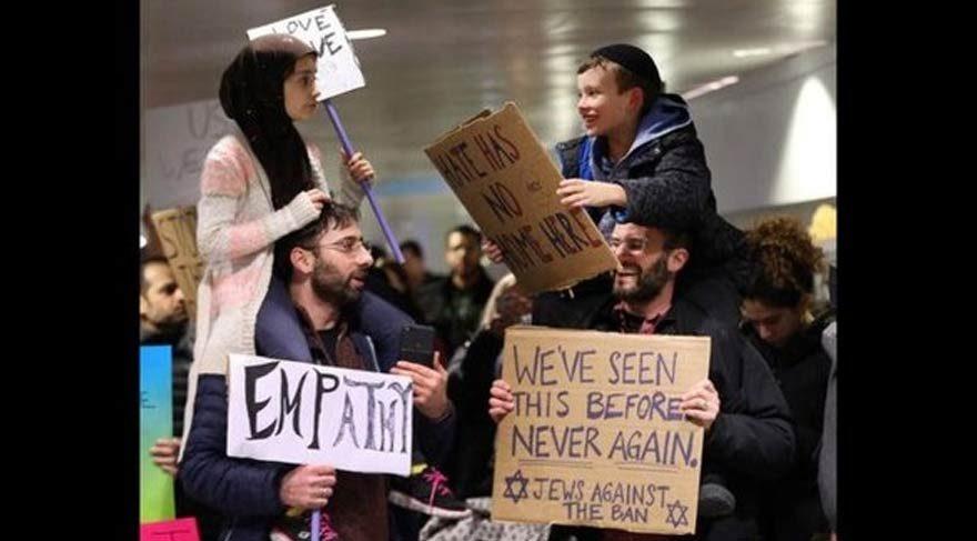 Müslüman ve Yahudi protestosu sosyal medyada viral oldu