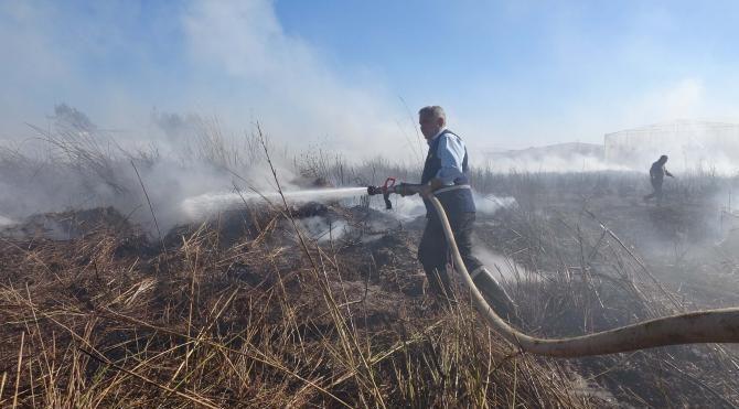 Seraların ortasında çıkan yangın üreticileri korkuttu