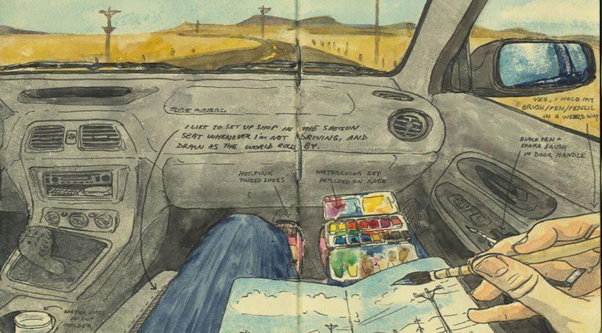 Yol hikayelerini çizerek anlatan sanatçı