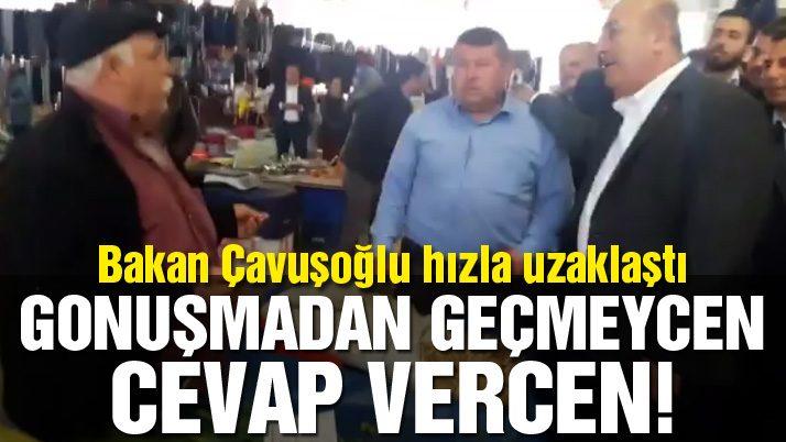 Mevlüt Çavuşoğlu'nun pazarda zor anları!