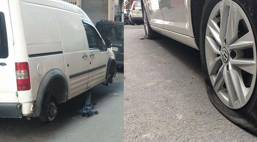 Beyoğlu'nda 50 aracın lastiğini patlattılar