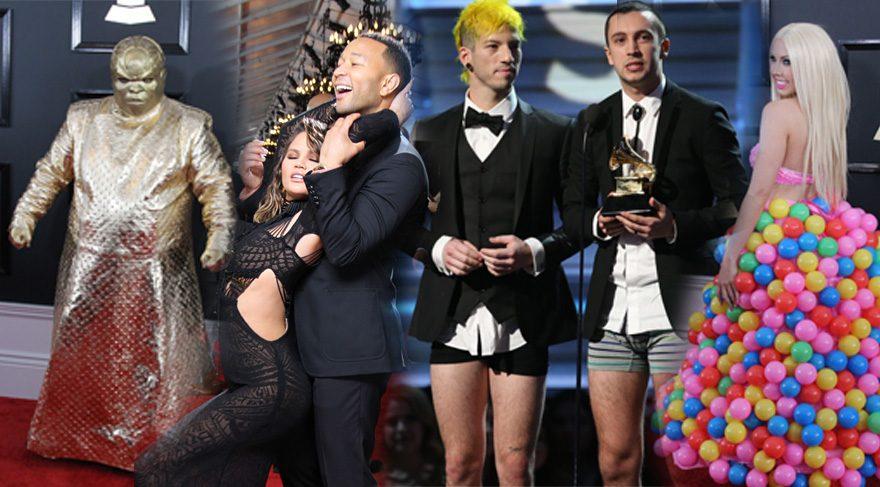 Grammy Ödülleri ilginç görüntülere sahne oldu