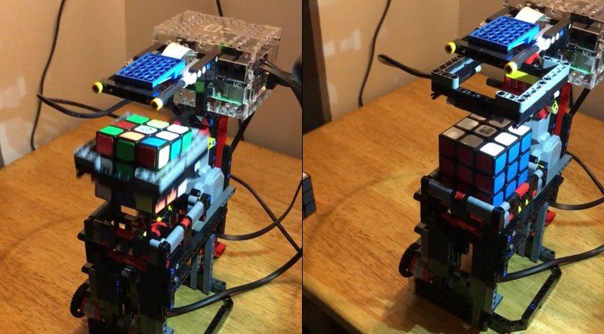 Lego parçalarından rubik küp çözen bir robot yapabilirsiniz