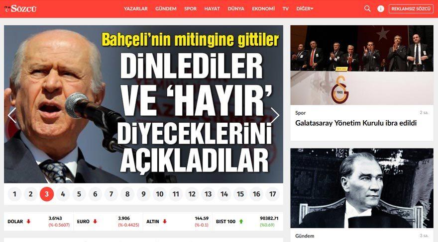 Türkiye'nin açık ara en çok haber okunan sitesi Sözcü oldu